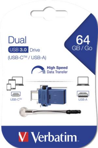 USB kľúč, 64GB, USB 3.0+USB-C adapter,...